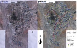 Makebe survey map and overlain microgrid design