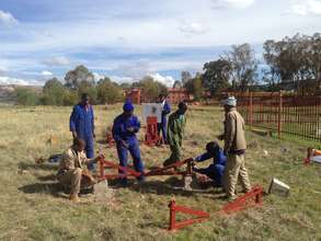 The STG Lesotho team prepares the site at NUL.