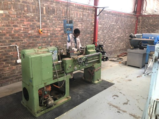 Lathe in the new space at Ha Thetsane