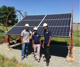Lesotho team with PV tracker prototype
