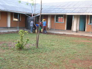 Our school building with veranda and play yard
