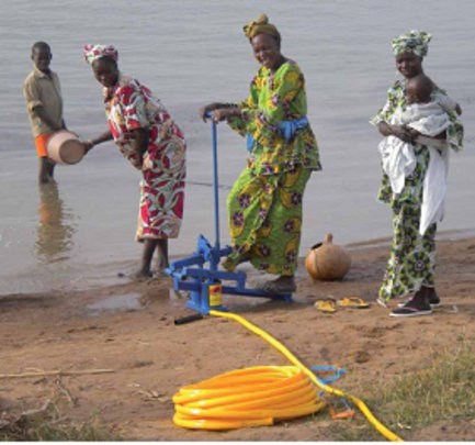 Women at the Niger River pumping irrigation water