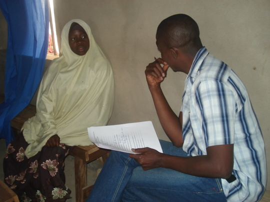 Hauwa answering questions from Programme officer