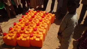 Some water jugs distributed
