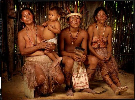An indigenous family in Brazil's Xingu basin.