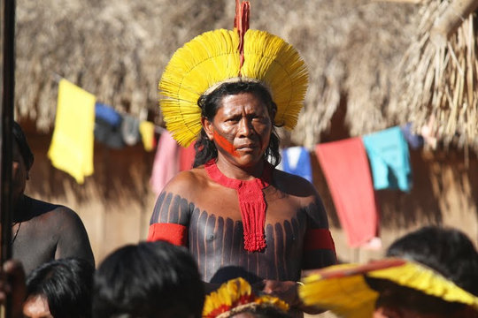 An indigenous man at a Belo Monte protest