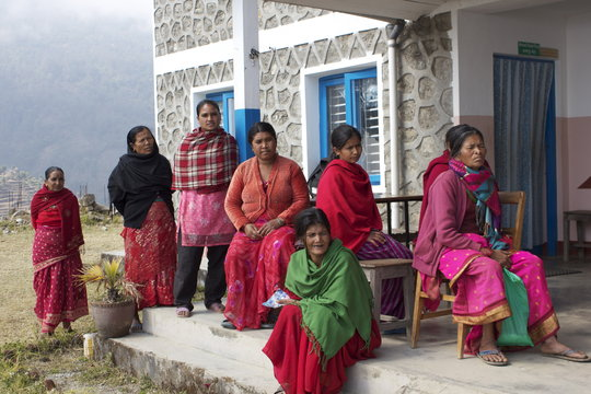 Patients gather at the Bhotechaur clinic