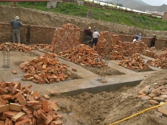 Building the birth center's outer wall