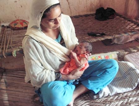 Tahira and her new baby