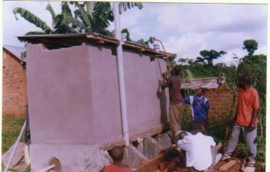 photo on ecosan latrine final stages being worked on