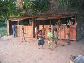 Children gathering at the Khmer Literacy School.