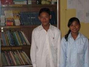 Cheng Boran & Noun Sopheap, students at TSF's Engl