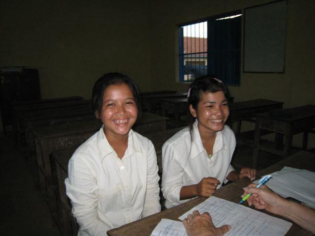 Chheng Srey Mom & Hun Srey Neath, Khmer Literacy School students