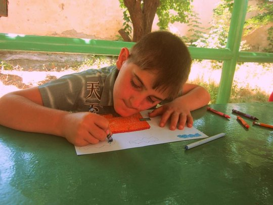 During his free, Hayk loves to draw.