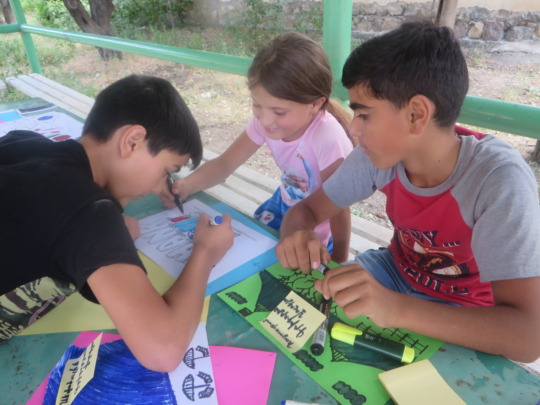 Children during teamwork