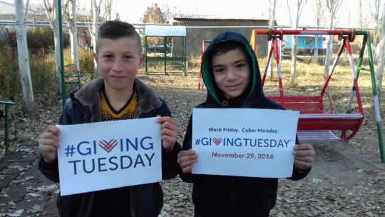 The children are preparing for the Giving Tuesday