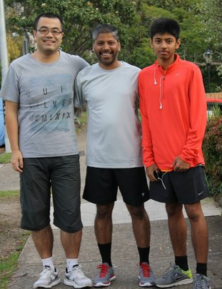 Raj (centre) with his son Rohan and friend Bofan