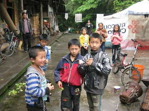 Boys in a camp, Shapin village, Xiaohe Township