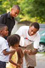 Young adults help out at annual block party