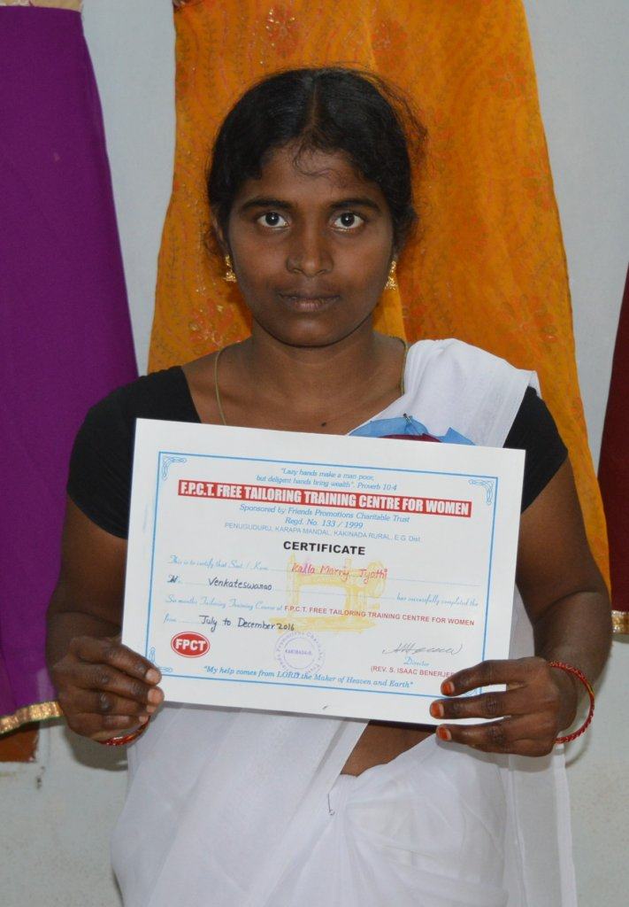 Mary is proud to have earned her certificate.