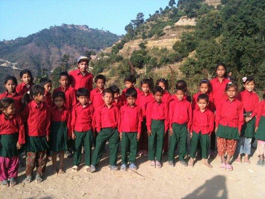 25 children in new uniforms