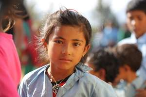 Village girl with old uniform