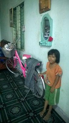 Kieu with her new bike