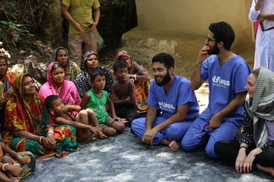 Selfless Volunteers Working in Rural Village