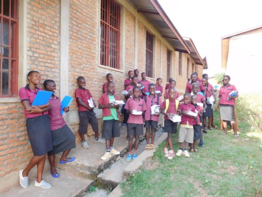 #1 Students enjoying receiving school materials