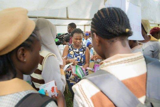 Girls Receiving Informative Materials on SRH