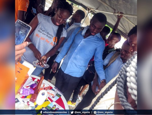 Female condom demonstration.