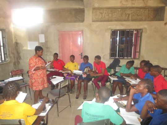 Adolescents discussing issues they face in school