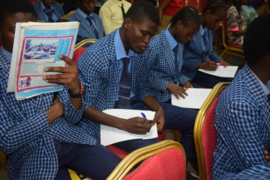 Young People Taking HIV Knowledge Assessment Test