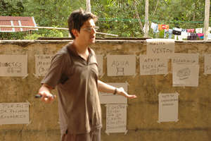 Facilitating a community visioning session in Peru