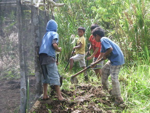 boys helping in the nursery construction