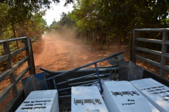 Water filters in transit to a village to install
