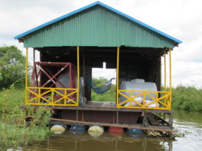 The floating water filter station, nearly finished