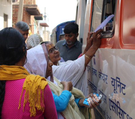 After consulting doctors, widows collect medicines