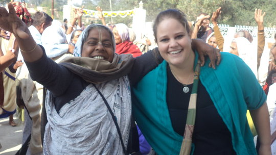 A widow mother with one of Maitri's interns