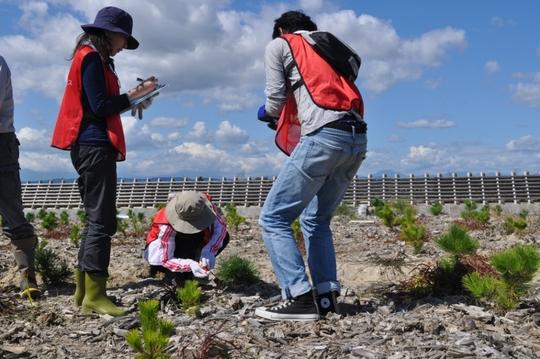 Izumi Kazuko (center) helping in the monitoring