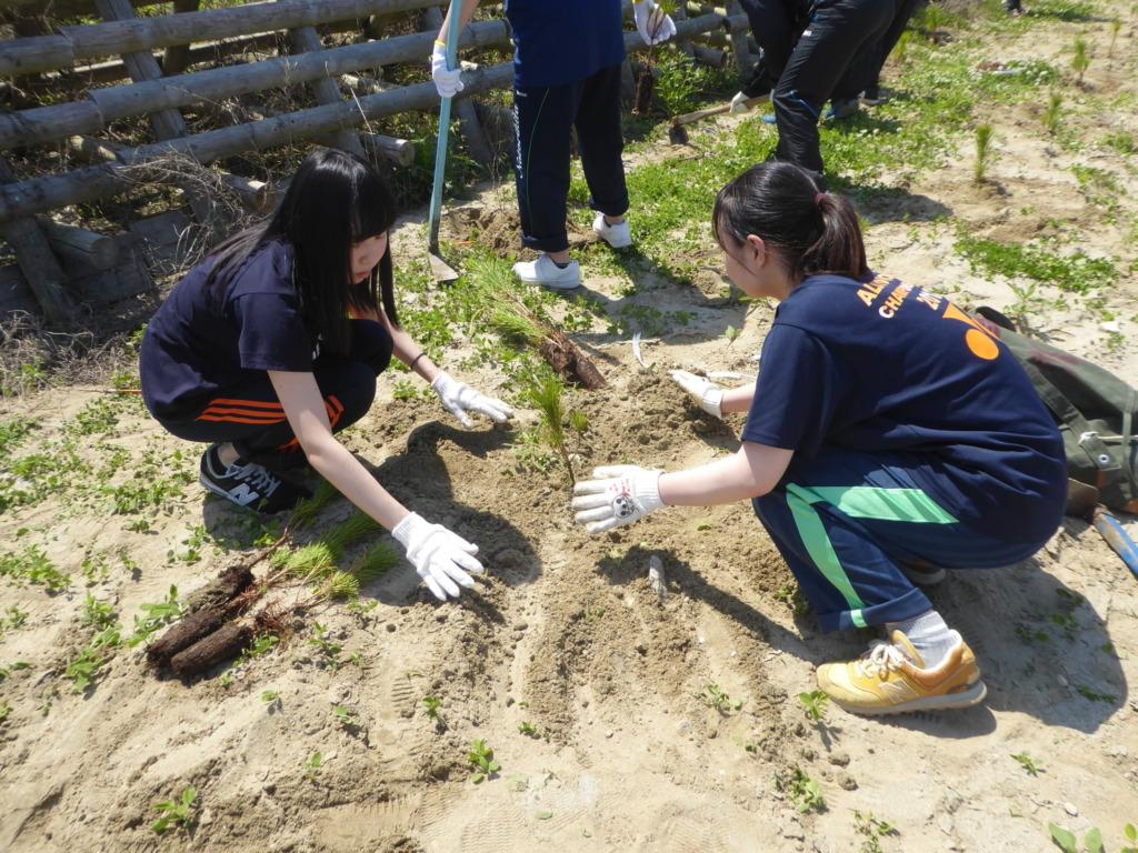High School students planting seedlings