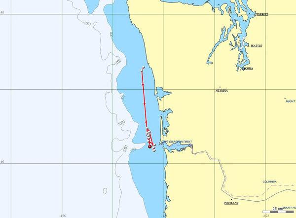 NOAA sat tag Jan. 31st map, Brad Hanson, NOAA-NWFS