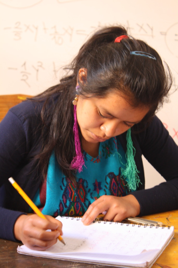 A scholar reviewing her notes