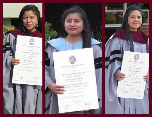 Dominga, Elicia, and Josefina at their graduations