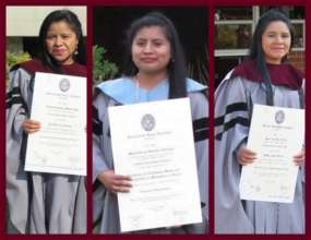 Dominga, Elicia, and Josefina at their graduations