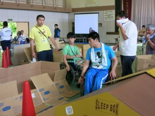 attempting to navigate the mock-up via wheelchair