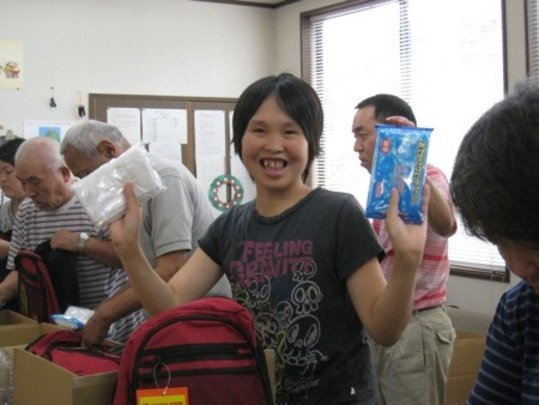participant showing some evacuation kit contents