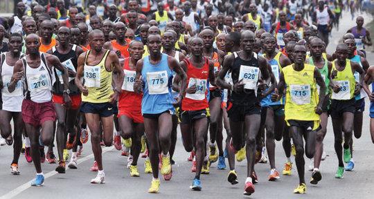 Huge crowd of runners