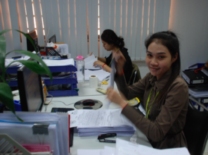 Pheak at her desk at work.
