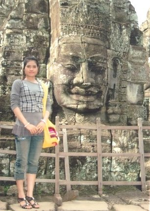 Mealea visiting an ancient Cambodian temple